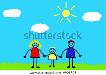 Happy family walks on nature - stock photo
