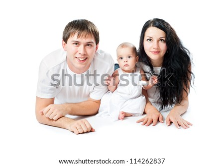 happy family with a baby on a white background - stock photo