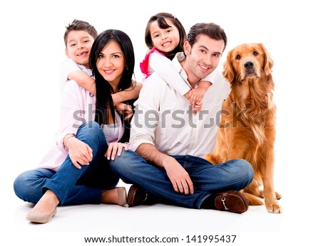 Happy family with a dog - isolated over a white background - stock photo