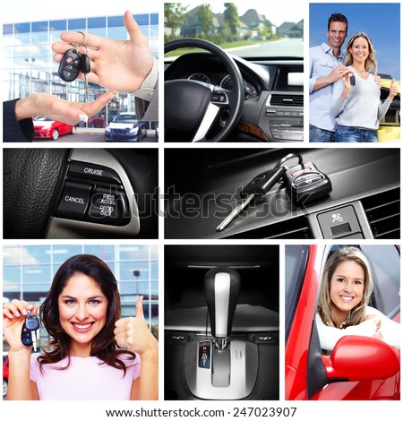 Happy family with a new car. Driving. - stock photo
