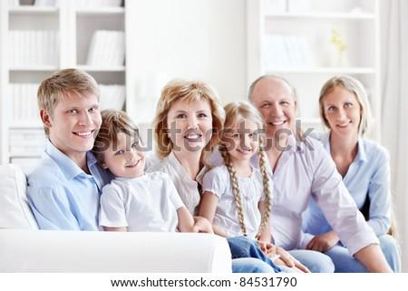 Happy family with children - stock photo