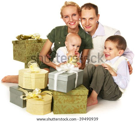 happy family with many gift boxes - stock photo