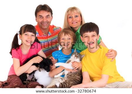Happy family with pets - stock photo