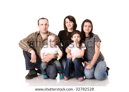 Happy Family with three kids together isolated on white - stock photo