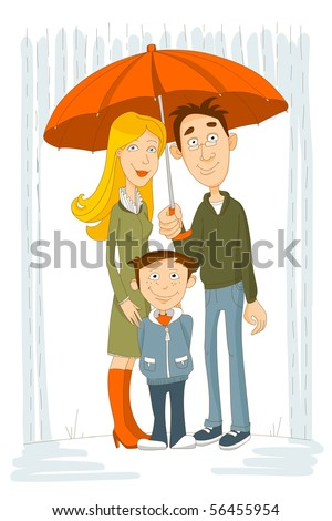 Happy family with umbrella under rain - stock photo