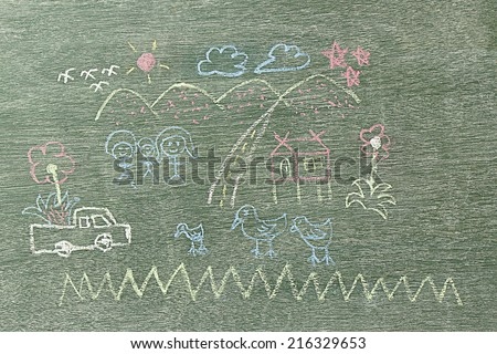 Happy family written by using chalk on wooden board for teaching kids and education. - stock photo