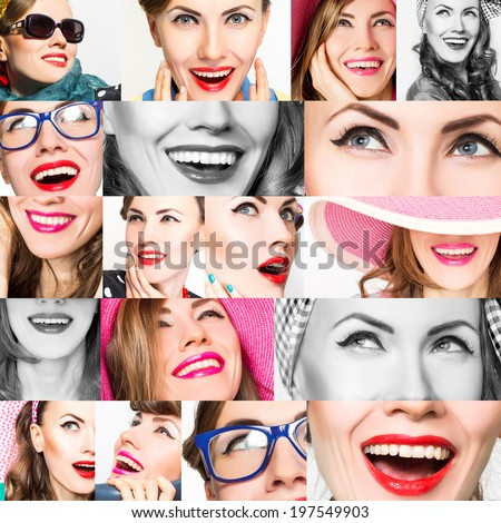 Happy fashion women collage.Smile and faces. Makeup, emotions - stock photo