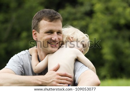 Happy father and baby - stock photo
