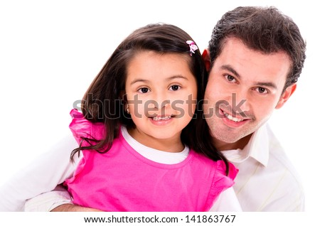 Happy father and daughter - isolated over a white background - stock photo