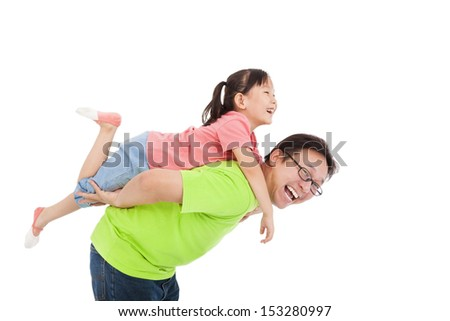 Happy father and daughter playing  - stock photo