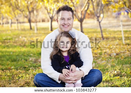 Happy Father and Daughter Portrait - stock photo