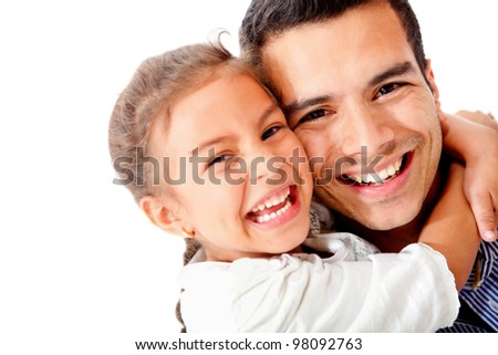 Happy father and daughter smiling - isolated over a white background - stock photo