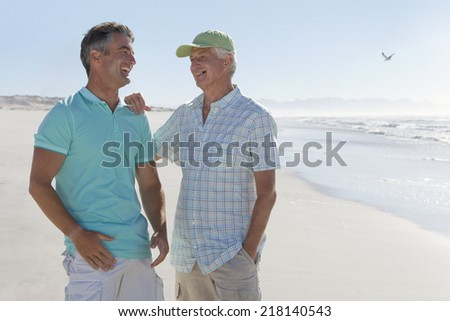 Happy father and son laughing on sunny beach - stock photo