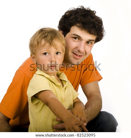 happy father and son play isolated on white in studio - stock photo
