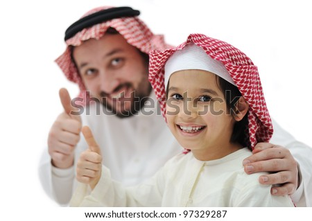 Happy father and son with thumb up - stock photo