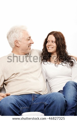 Happy father and the daughter on a white background - stock photo