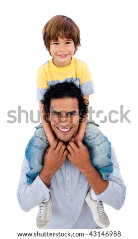 Happy father giving his son piggyback ride against a white background - stock photo