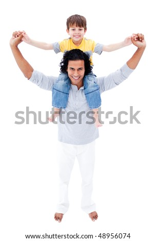 Happy father giving piggyback ride to his son isolated on a white background - stock photo