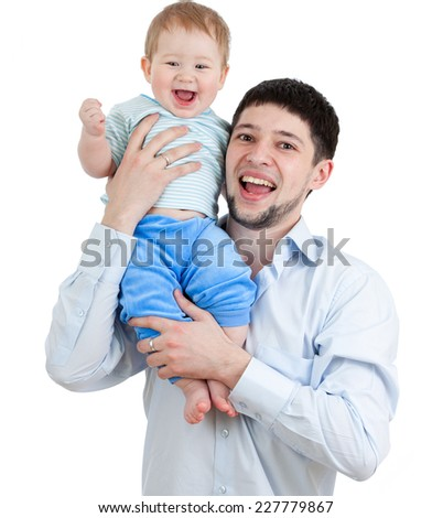 happy father holding his son isolated on white background - stock photo