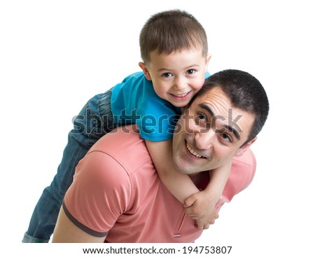 happy father holding his son on his back isolated on white - stock photo