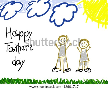Happy Father's Day child's drawing - stock photo
