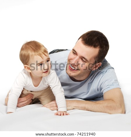 Happy father with his baby - stock photo