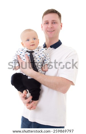 happy father with his little son isolated on white background - stock photo