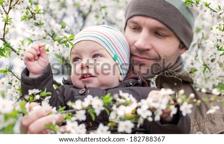 happy father with toddler looking on the blossom tree - stock photo