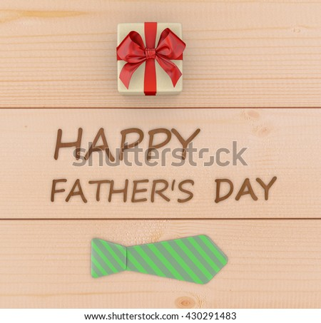 Happy fathers day gift box and tie laid on wooden floor backround. 3d rendering - stock photo
