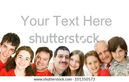 Happy fathers with their children.  Father's Day concept, border, isolated with room for text. - stock photo