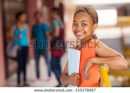 happy female african american college student close up - stock photo