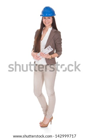 Happy Female Architect Standing Over White Background - stock photo