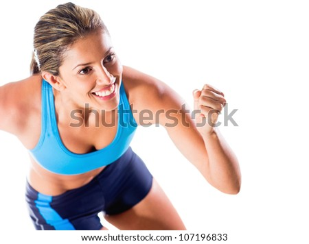 Happy female athlete - isolated over a white background - stock photo
