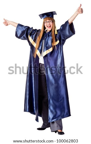 Happy female grad student standing with thumbs up. Isolated over white - stock photo
