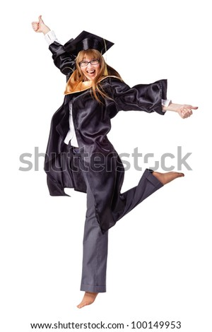 Happy female graduate jumping and smiling. Isolated over white - stock photo