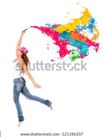 Happy female painter with a colorful paint splash - isolated - stock photo