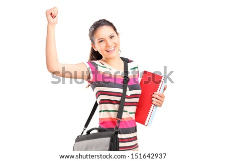 Happy female student holding notebooks isolated on white background - stock photo