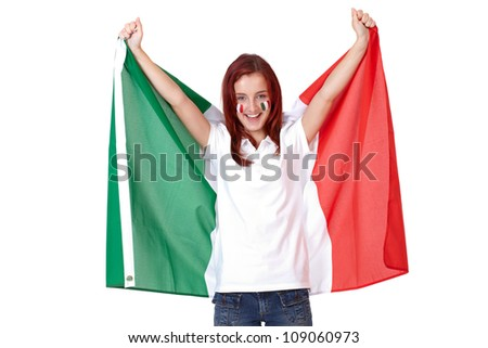 Happy female with Italian flags on her cheeks, isolated - stock photo