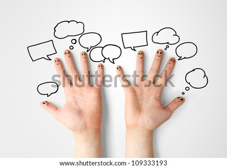 happy finger smileys with speech bubbles - stock photo