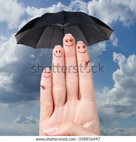Happy fingers family - stock photo