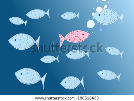 happy fish - concept individualism - stock photo