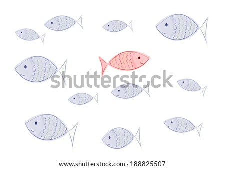 happy fish - concept individualism - stock photo