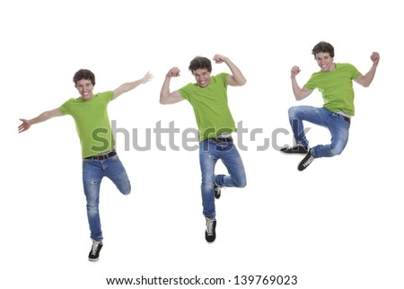 happy, fit, healthy confident smiling teen jumping - stock photo
