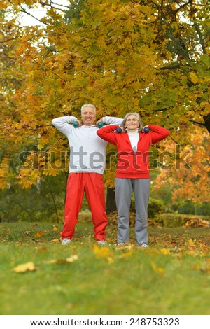 Happy fit senior couple exercising in autumn park - stock photo