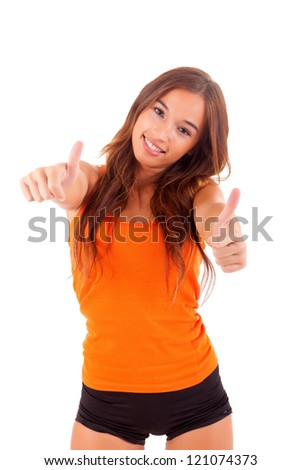 Happy fitness instructor posing isolated over white background - stock photo