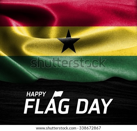 Happy Flag Day Typography Ghana flag on wood Texture background - stock photo
