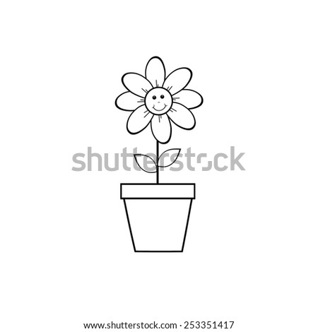Happy Flower Pot - stock photo