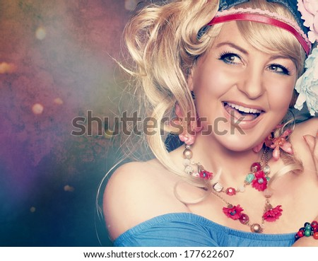 happy flower power girl - stock photo