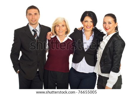 Happy four business people standing in a huddle and smiling isolated on white background - stock photo