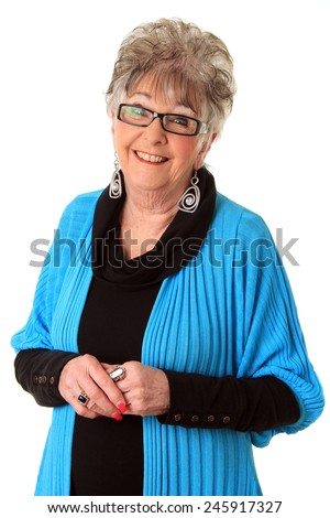 Happy friendly smiling senior woman.  - stock photo